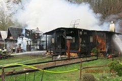 Požár zahradních chatek v Hlučíně.
