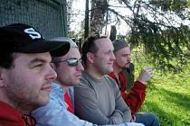Missing base. V kapele se sešly čtyři nepřehlédnutelné hudební osobnosti: zleva Víťa Halška, Rudy Horvat, Patrik Benek a Jaryn Janek.