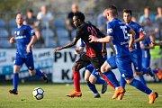 Vlašim - Zápas 23. kola Fortuna národní ligy mezi FC Vlašim a SFC Opava 22. dubna 2018 ve Vlašimi. Joel Ngandu Kayamba - o.