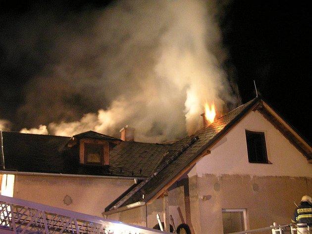 Požár rodinného domu v Oldřišově.
