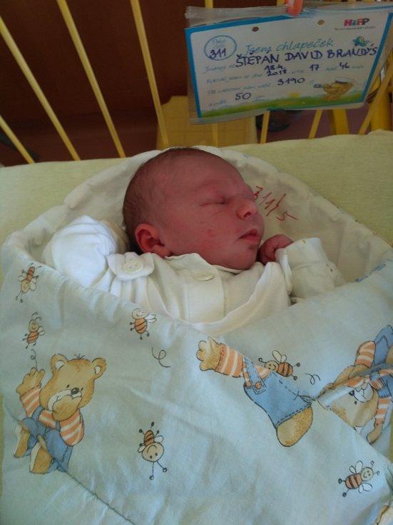 """Štěpán David Brandýs se narodil 18. dubna, vážil 3,19 kilogramu a měřil 50 centimetrů. """"Miminku přejeme hodně zdraví a ať nám dělá samou radost,"""" řekli rodiče Karolína Stoklasová a David Brandýs z Opavy."""