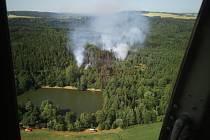 Zásah hasičů u požáru lesa na Opavsku, neděle 30. června 2019.