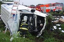 Páteční dopravní nehoda dodávky a vlaku v Krnově.