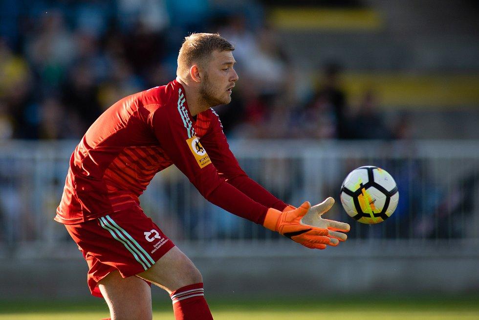 Zápas 26. kola Fortuna národní ligy SFC Opava - FK Dynamo České Budějovice 5. května 2018 v Opavě. Jindřich Staněk - čb.