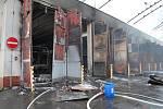 Požár v areálu Městského dopravního podniku v Opavě-Kylešovicích.