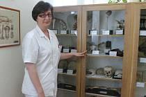 Primářka oddělení patologické anatomie Slezské nemocnice Eva Sehnálková každé poslední úterý v měsíci provádí návštěvníky při prohlídce Muzea patologie.