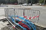 """Modernizace semaforů a výměna vodovodu a plynovodu na křižovatce u """"Bezručáku"""". Opava, 25. července 2021."""