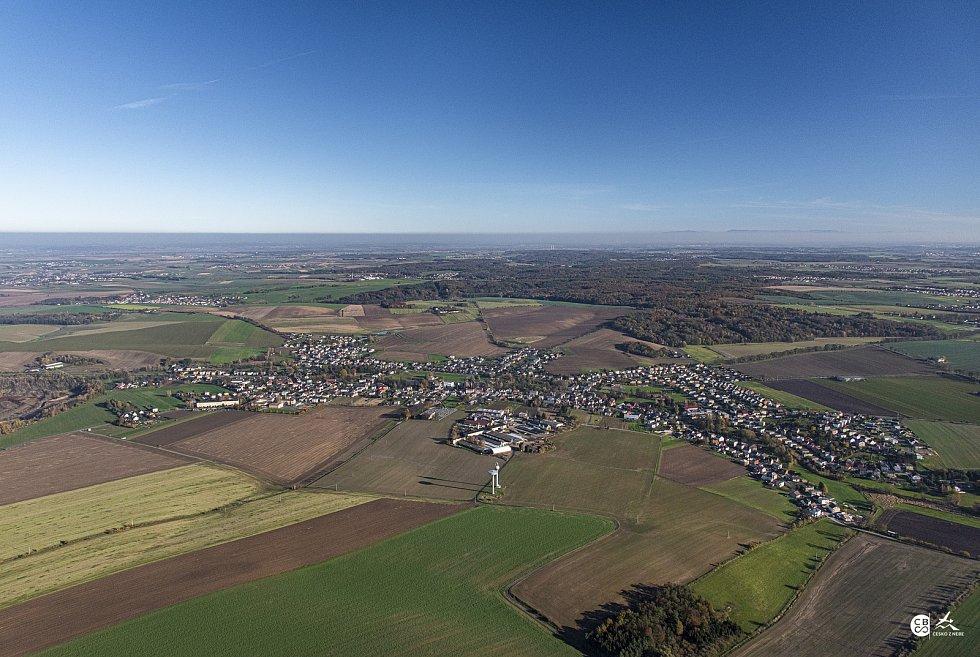 Letecký pohled na Kobeřice.
