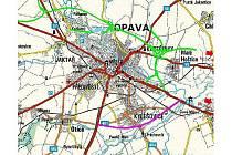 Jižní obchvat je na této mapce vyznačen fialkovou barvou.