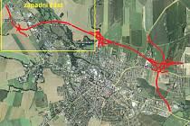 Mapka znázorňují polohy a řešení jednotlivých částí severního obchvatu města.