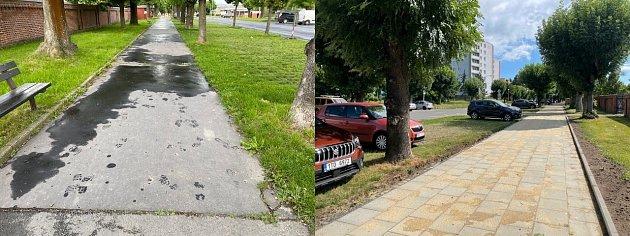 Ulice Otická před a po opravách.