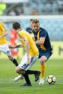 Zápas 26. kola Fortuna národní ligy SFC Opava - FK Dynamo České Budějovice 5. května 2018 v Opavě. David Puškáč - o.