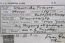 Kopie zprávy o úmrtí kaprála Franze Wawričky z roku 1917, kterou má k dispozici sběratel Miroslav Vostatek.