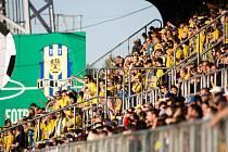 Zápas 26. kola Fortuna národní ligy SFC Opava - FK Dynamo České Budějovice 5. května 2018 v Opavě. Diváci, fanoušci.