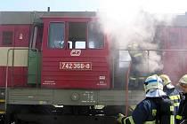 Požár rychlíku v Opavě-Držkovicích.