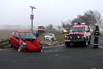 Nehoda na železničním přejezdu u Otic.