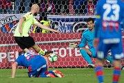 Plzeň - Zápas třetího kola MOL Cupu mezi Viktoria Plzeň a SFC Opava 5. října 2017. Tomáš Smola - o, gól