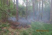 Požár lesa v Jezdkovicích.