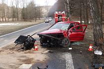Úterní dopravní nehoda osobního automobilu mezi Lesními Albrechticemi a Kajlovcem.