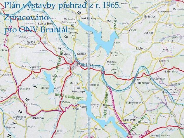 Vodní nádrže, jak je navrhovali vodohospodáři v roce 1965. Z nádrže u Václavova sešlo, místo tří přehrad je dnes jediná Slezská Harta. O přehradě v Nových Heřminovech se nyní jedná.