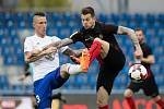 Semifinále fotbalového poháru MOL Cup mezi FK Mladá Boleslav a SFC Opava v Mladé Boleslavi 26. dubna. Jiří Fleišman - mb, Petr Zapalač - o.