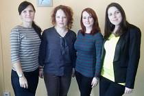 Tým Občanské poradny Charity Opava. Zleva Radana Plevová, Monika Urbánková, Veronika Prchalová a Lucie Vehovská. Na fotce chybí Romana Najvertová.