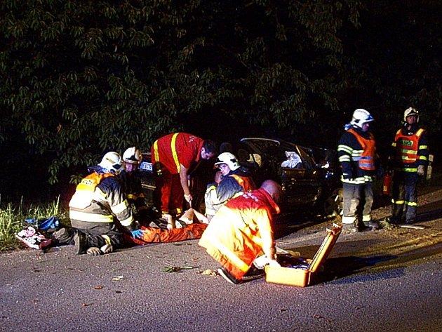 Snímek ze zásahu u dopravní nehody osobního automobilu v Píšti.