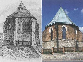 Podoba kaple z doby před rokem 1840 (vlevo) a nyní.