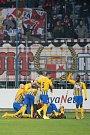 Opava - Zápas 17. kola FORTUNA:LIGY mezi SFC Opava a SK Slavia Praha 3. prosince 2018 na Městském stadionu v Opavě. Hráči Opavy, gól, radost.