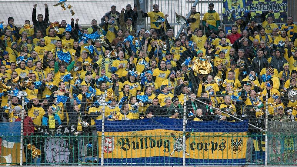 Semifinále fotbalového poháru MOL Cup mezi FK Mladá Boleslav a SFC Opava v Mladé Boleslavi 26. dubna. Fanoušci SFC Opava.