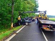 Auto narazilo do stromu, zraněno bylo pět lidí včetně dětí.