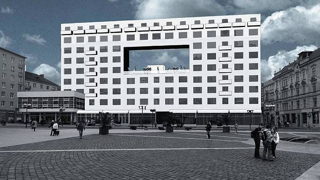 Levitující náměstí s vyhlídkou a kavárnou. Takto si proměnu šedivého paneláku na Horním náměstí z druhé poloviny minulého století představuje pět architektů z pražského studia MOBA.