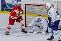 Rezerva brněnské Komety (v bílém) na úvod druhé hokejové ligy podlehla 0:1 Opavě až po prodloužení.