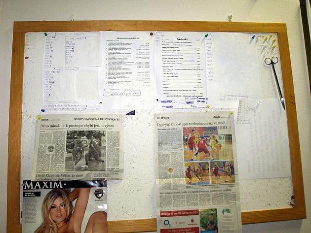 Nástěnka na zdi basketbalové šatny skýtá řadu zajímavých informací, které jsou ale běžnému fanouškovi utajeny.