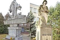 Vlevo: Památník ve tvaru meče stojí v pravé části opavského městského hřbitova. Vpravo: Voják stojící před kylešovskou základní školou na Hlavní ulici se pomalu ale jistě rozpadá.