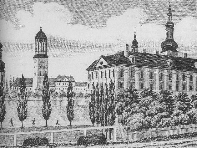Litografie podle kresby Josefa Sinslera zachycuje Zemský dům kolem roku 1860.