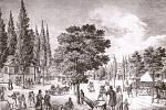 Litografie zroku 1835 zachycuje sady spůvodní dřevěnou střelnicí. Foto: archiv Slezského zemského muzea
