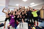 Semifinále fotbalového poháru MOL Cup mezi FK Mladá Boleslav a SFC Opava v Mladé Boleslavi 26. dubna. Hráči SFC Opava slaví postup do finále poháru.
