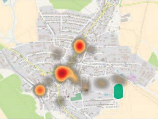 Mapa ukazuje, jak určitá místa působí na obyvatele města.