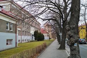 Okolí hlučínského gymnázia v pátek 22. ledna.
