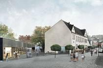 Jeden z návrhů. Knihovna by se přestěhovala do nového objektu (vlevo), který by z konce Podolní ulice vytvořil nové trojúhelníkové náměstí.