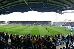 Nástup hráčů Slezského FC Opava a Baníku Ostrava provázela fantastická atmosféra.