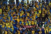Fotbalové utkání Fortuna ligy mezi celky AC Sparta Praha a SFC Opava 21. července v Praze. Fanoušci Opavy.