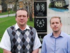 Nový starosta Budišova nad Budišovkou Patrik Schramm (vlevo) na společné fotografii s místostarostou Pavlem Jílkem.