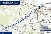 Mapa zobrazuje možnosti napojení z různých částí Opavska.