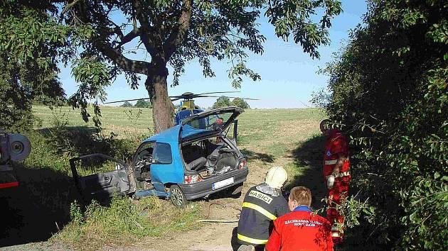 Dopravní nehoda u Bílovce-Bravinné, kde zahynul muž z Budišova nad Budišovkou.