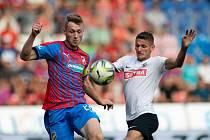 Plzeň - Zápas fotbalové FORTUNA:LIGY mezi FC Viktoria Plzeň a SFC Opava 25. srpna 2019. Václav Juřena (SFC Opava).
