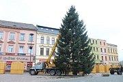 Vánoční strom, kterým je letos sedmnáctimetrová jedle bělokorá, na Dolním náměstí v Opavě už stojí!