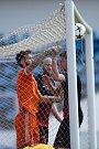 Zápas 27. kola Fortuna národní ligy mezi FK Olympia Praha a SFC Opava hrané v Praze 12. května 2018. Opava gól
