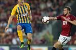 Zápas 1. kola FORTUNA:LIGY mezi AC Sparta Praha a SFC Opava 21. července 2018 v Generali areně v Praze. David Puškáč - o, Jiří Kulhánek - acs.